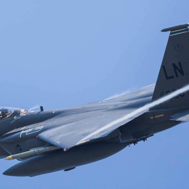"""""""Letterbox crop of a Strike Eagle"""" stock image"""
