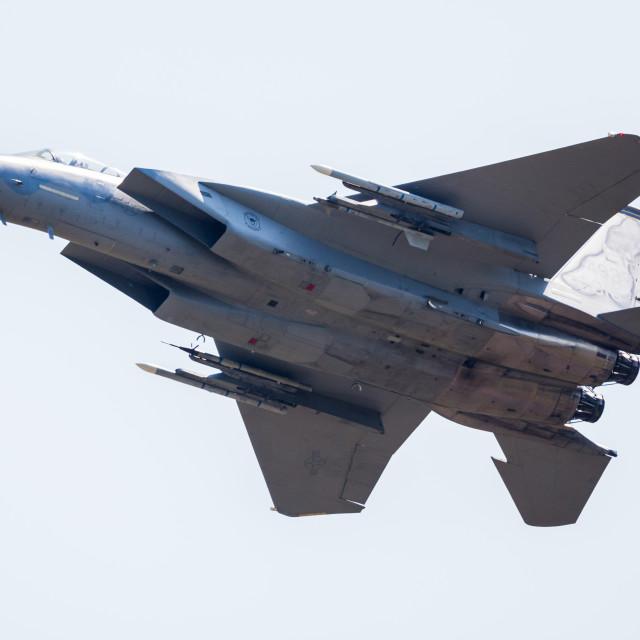 """""""F-15C overflies the runway"""" stock image"""