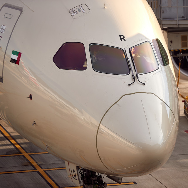 """Nose of passenger 787 aircraft"" stock image"