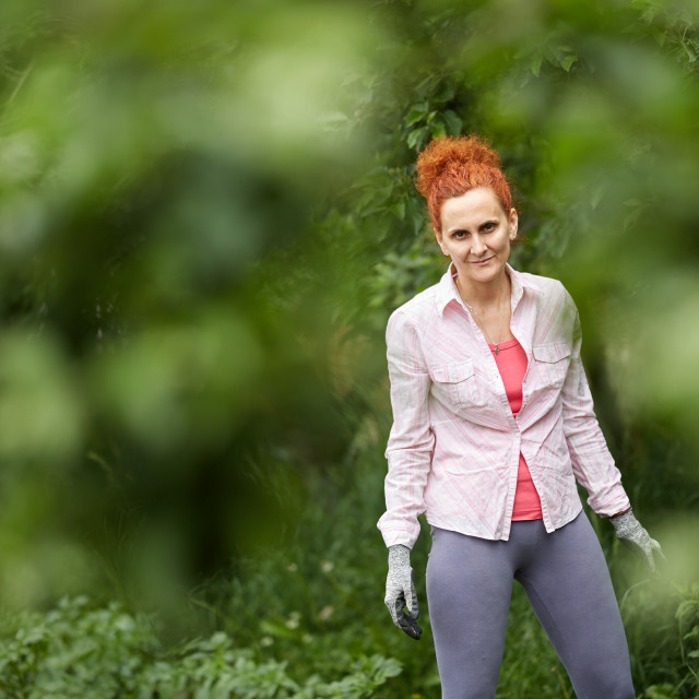 """Farmer lady in the orchard"" stock image"