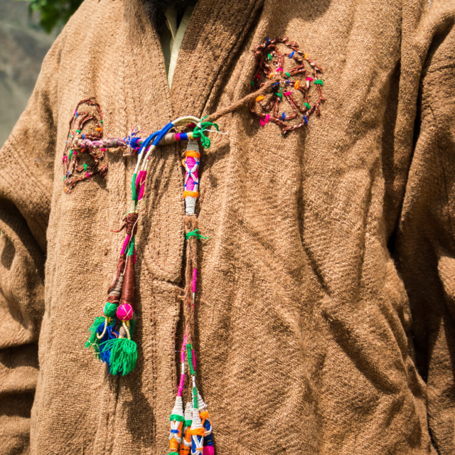 """""""Close up on an old traditional wool jacket in a remote valley in the Hindu..."""" stock image"""
