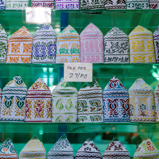 """""""Kummas for sale in a shop, Governorate of Muscat, Muscat, Oman"""" stock image"""