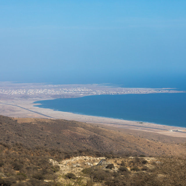 """""""Mirbat seen from the moutains, Dhofar Governorate, Wadi Hinna, Oman"""" stock image"""
