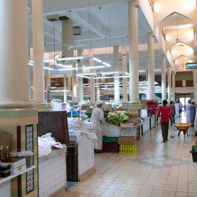 """Indoor vegetables market, Ad Dakhiliyah Region, Nizwa, Oman"" stock image"