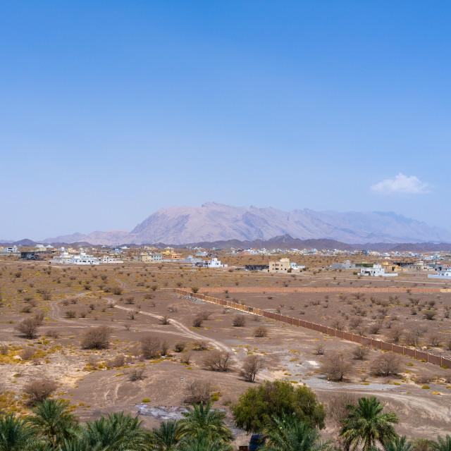"""Arid area near the castle, Ad Dakhiliyah Region, Jabreen, Oman"" stock image"