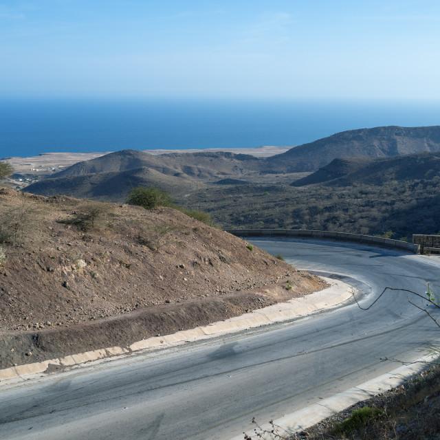 """Mountain road leading to mirbat, Dhofar Governorate, Wadi Hinna, Oman"" stock image"