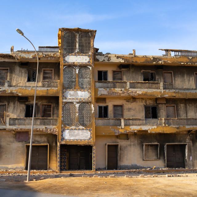 """Abandoned modern building, Dhofar Governorate, Mirbat, Oman"" stock image"