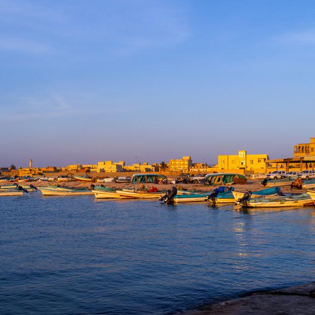 """Fishermen boats in the port, Dhofar Governorate, Mirbat, Oman"" stock image"