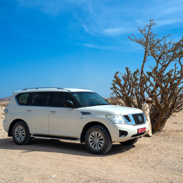 """Off road vehicle parked in front of a frankincense tree, Dhofar Governorate,..."" stock image"