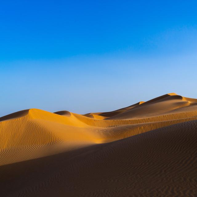"""Sand dune sin rub al khali desert, Dhofar Governorate, Rub al Khali, Oman"" stock image"