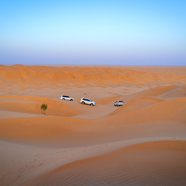 """Tourists cars in dunes in rub al khali desert, Dhofar Governorate, Rub al..."" stock image"