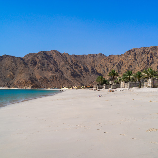 """Six senses zinghy bay beach, Musandam Governorate, Zinghy Bay, Oman"" stock image"