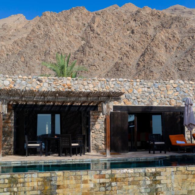 """Six senses zinghy bay villa, Musandam Governorate, Zinghy Bay, Oman"" stock image"