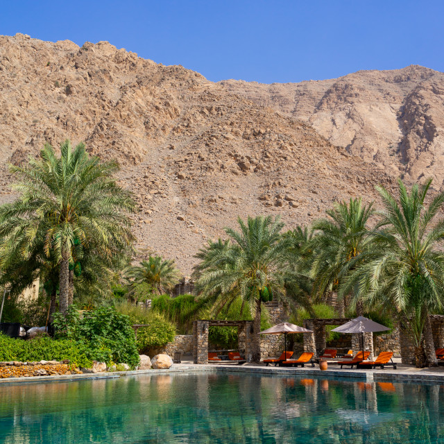 """Six senses zinghy bay pool, Musandam Governorate, Zinghy Bay, Oman"" stock image"