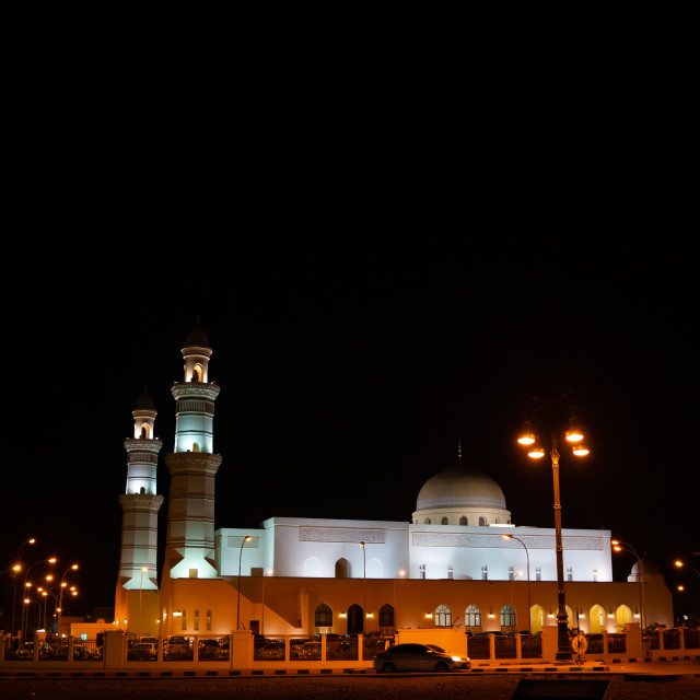 """Mosque by night in the city center, Musandam Governorate, Khasab, Oman"" stock image"