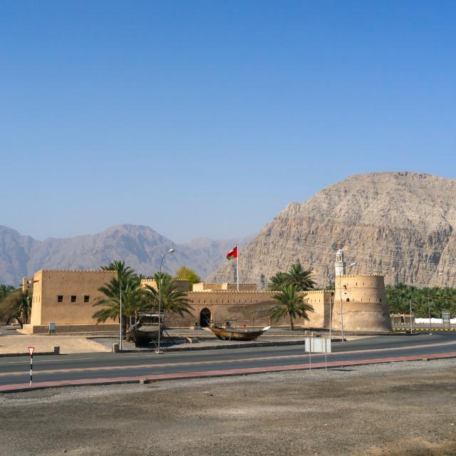 """""""Khasab castle, Musandam Governorate, Khasab, Oman"""" stock image"""