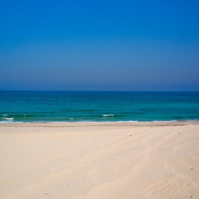 """Empty beach, Musandam Governorate, Khasab, Oman"" stock image"