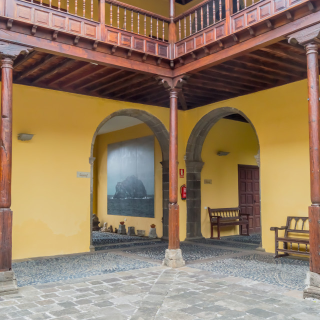 """""""Cloister outside and balcony of the Convent of the Franciscan"""" stock image"""