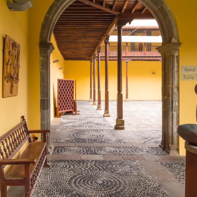 """Exterior Corridor of the Conceptionist Franciscan Convent in Garachico, Tenerife"" stock image"