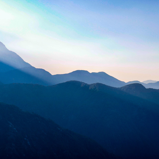 """Sunrise on the Himalayas, Himachal Pradesh Dharamkot India, 2018 ."" stock image"