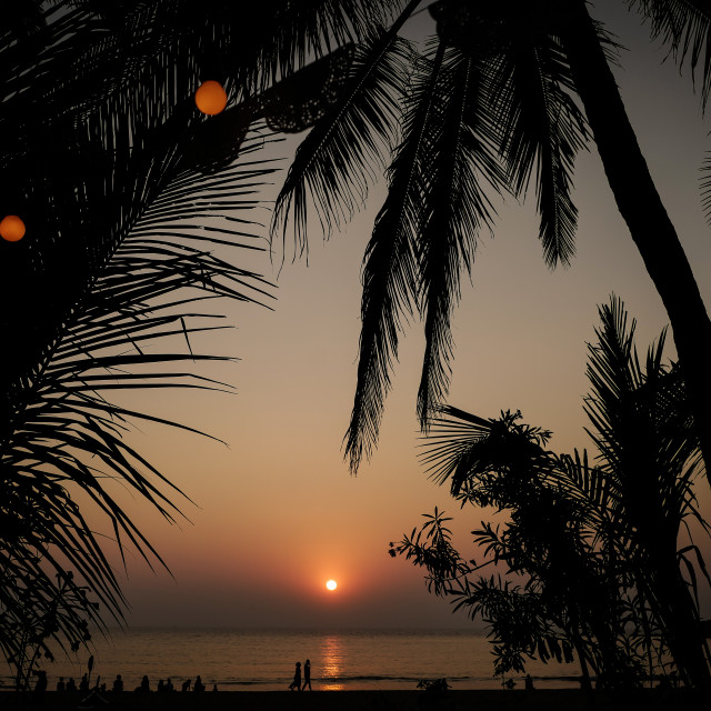 """Sunset at home gasthaus, Patnem beach Goa India, 2017"" stock image"