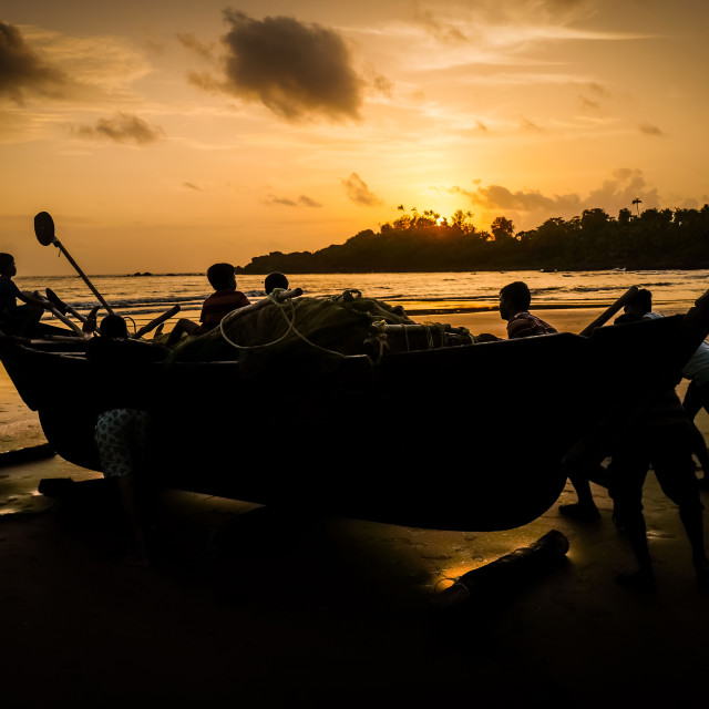 """Sunset fishing, Patnem beach Goa India, 2017"" stock image"