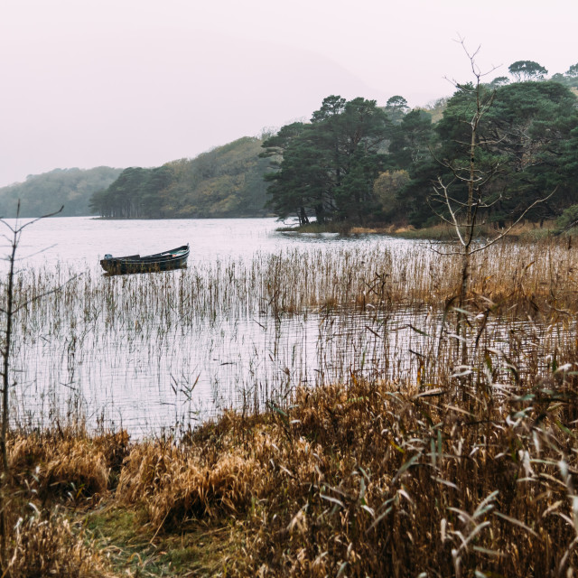 """Scenic view of boat in lake in Killarney a misty day"" stock image"
