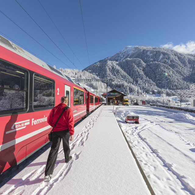 """Bernina Express train at Filisur station, Albula Valley, Canton of..."" stock image"