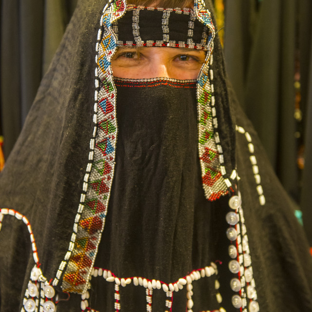 """Woman with traditional Hijab, Tabuk, Saudi Arabia"" stock image"