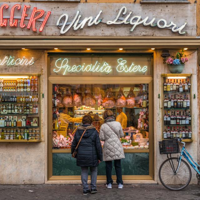 """""""Grocery storefront at Campo de Fiori square, Rome, Lazio, Italy."""" stock image"""