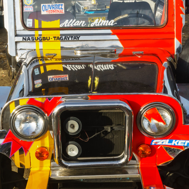 """""""Kitsch art front of a jeepney, most popular means of public transport in the..."""" stock image"""