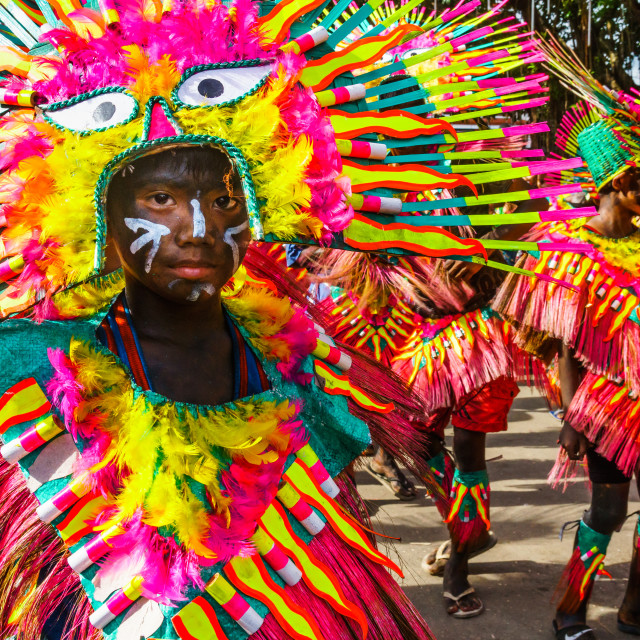 """""""Participants in flamboyant coloured dress waiting to march at the annual..."""" stock image"""