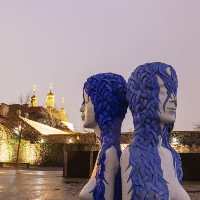 """Europe, Czech Republic, Prague, modern art installations at the Bastion,..."" stock image"
