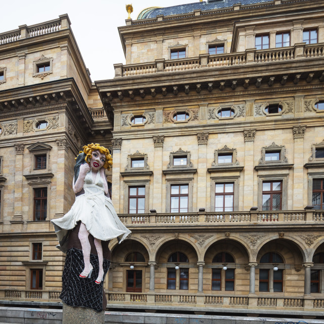 """Europe, Czech Republic, Prague, statue of Marilyn Monroe outside the National..."" stock image"