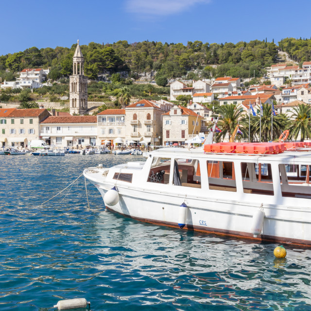"""""""View to the old town of Hvar Town"""" stock image"""