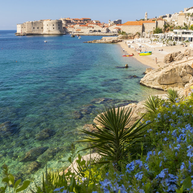 """""""View over Banje Beach and the old town of Dubrovnik in the background"""" stock image"""