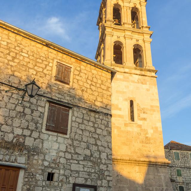 """The church of Stari Grad on Hvar Island at first sunlight"" stock image"