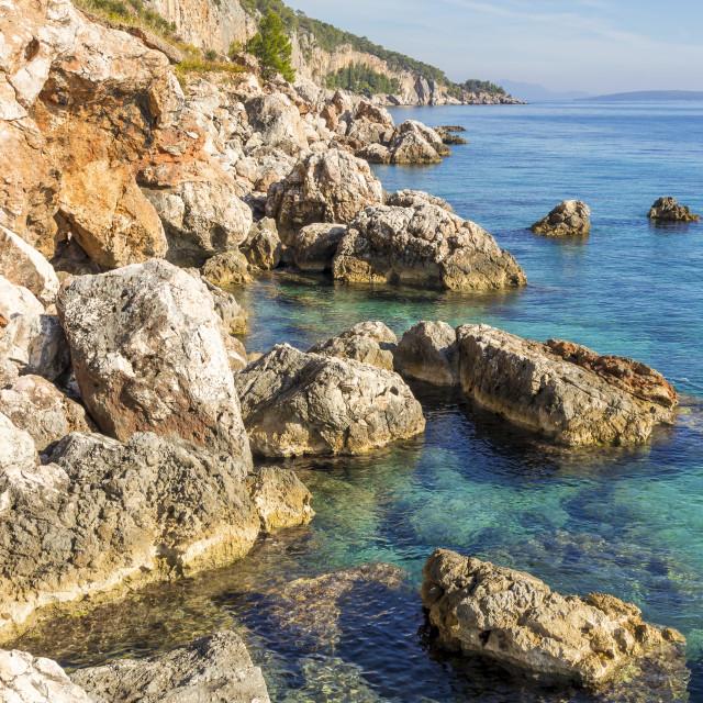 """Rocky coastline near Sveta Nedjelja on Hvar Island"" stock image"