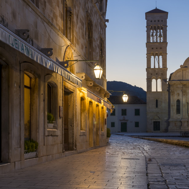 """""""Saint Stephen church at the main square of Hvar Town at dawn"""" stock image"""