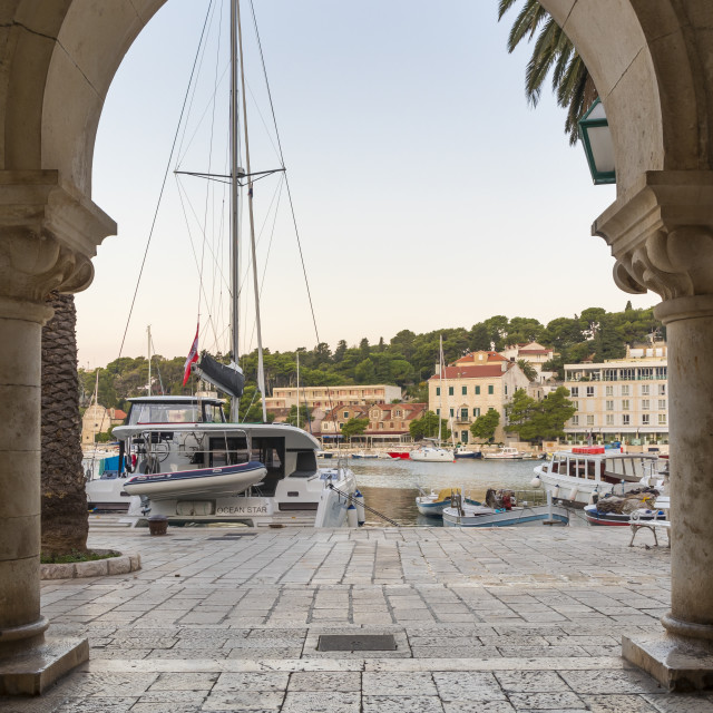 """The port of Hvar Town"" stock image"