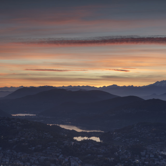"""Lugano and Monte Rosa at sunset seen from Monte Bre, Canton of Ticino,..."" stock image"