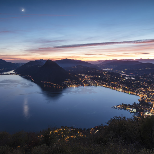 """Lake Lugano at sunset seen from Monte Bre, Canton of Ticino, Switzerland"" stock image"