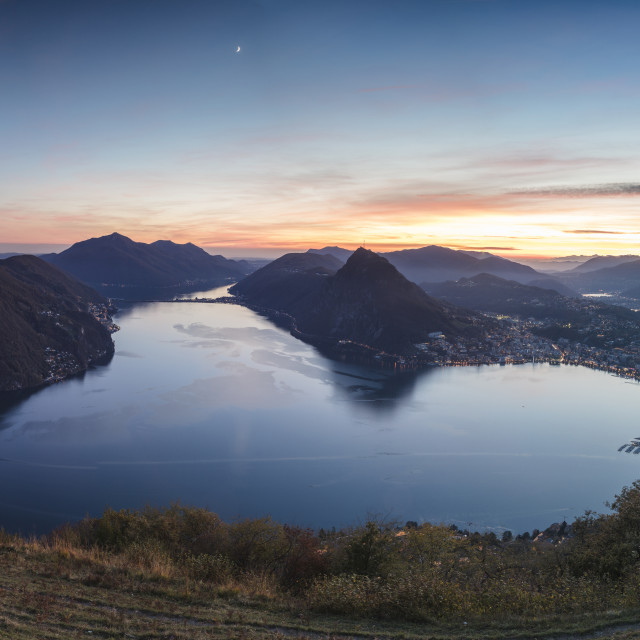 """Panoramic of Lake Lugano at sunset from Monte Bre, Canton of Ticino, Switzerland"" stock image"