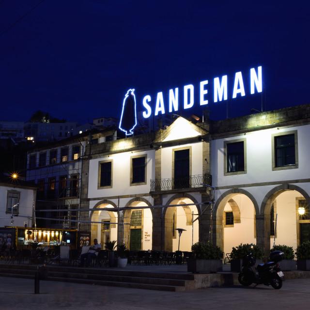 """""""Sandeman cellar in the historic centre of Vilanova de Gaia, Portugal."""" stock image"""
