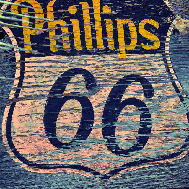 """""""Phillips 66 gas station sign and logo."""" stock image"""