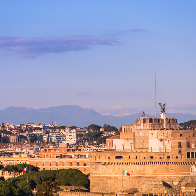 """Castel Sant'Angelo known also as Mausoleum of Hadrian seen from Janiculum..."" stock image"