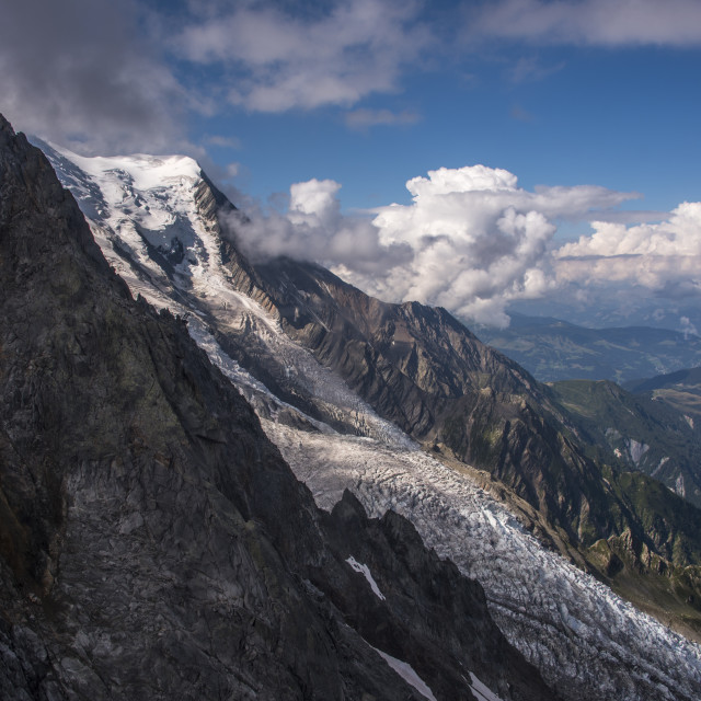 """The Bossons Glacier one of the large glaciers of the Mont Blanc massif of the..."" stock image"