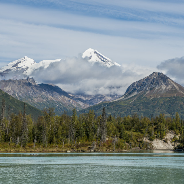 """Mount Redoubt and Crescent Lake, Lake Clark National Park and Preserve,..."" stock image"