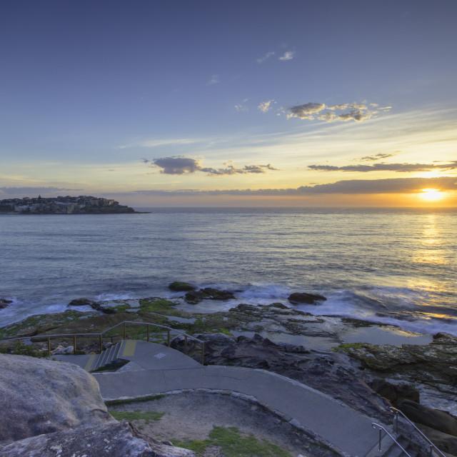 """Bondi to Bronte walk at dawn, Bondi Beach, Sydney, New South Wales, Australia"" stock image"