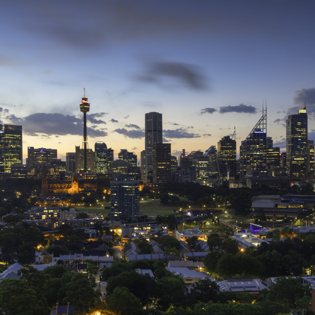"""""""View of skyline at sunset, Sydney, New South Wales, Australia"""" stock image"""